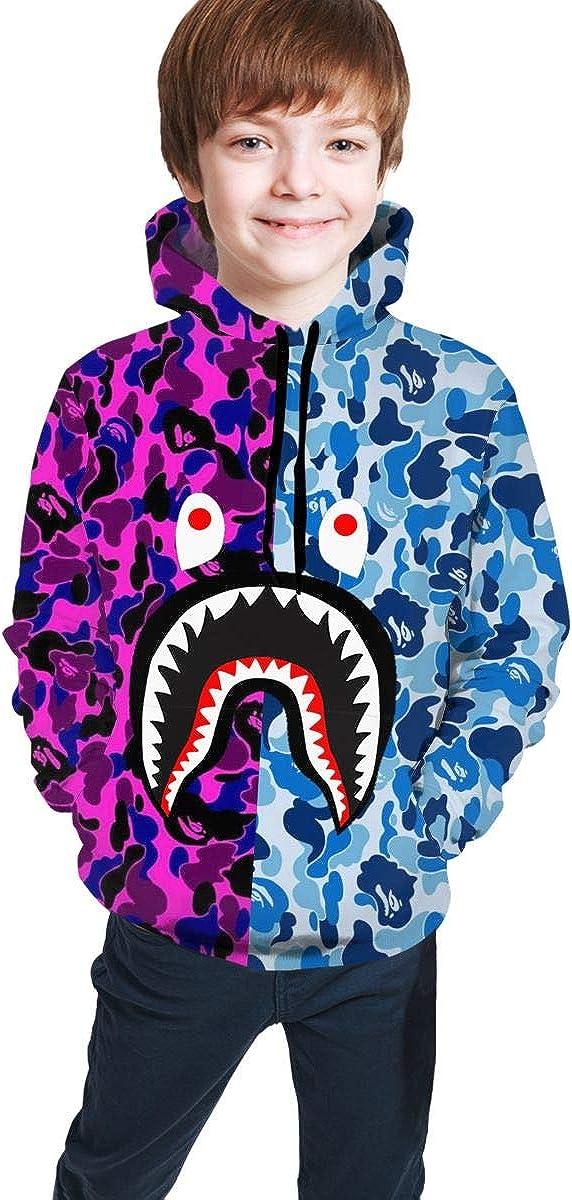 Bape Shark Hoodie Children's 3D Print Hoodie Boys Girls Kids Unisex Casual Pullover Sweatshirt