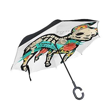 COOSUN Paraguas invertido de doble capa de bulldog francés para coche y uso al aire libre
