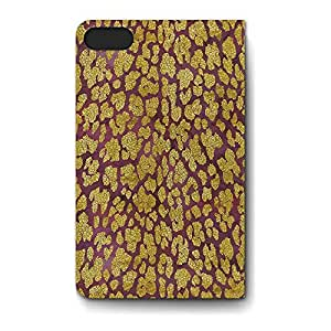 Leather Folio Phone Case For Apple iPhone 5S Leather Folio - Gold Glam Leopard Folio Wrap-Around