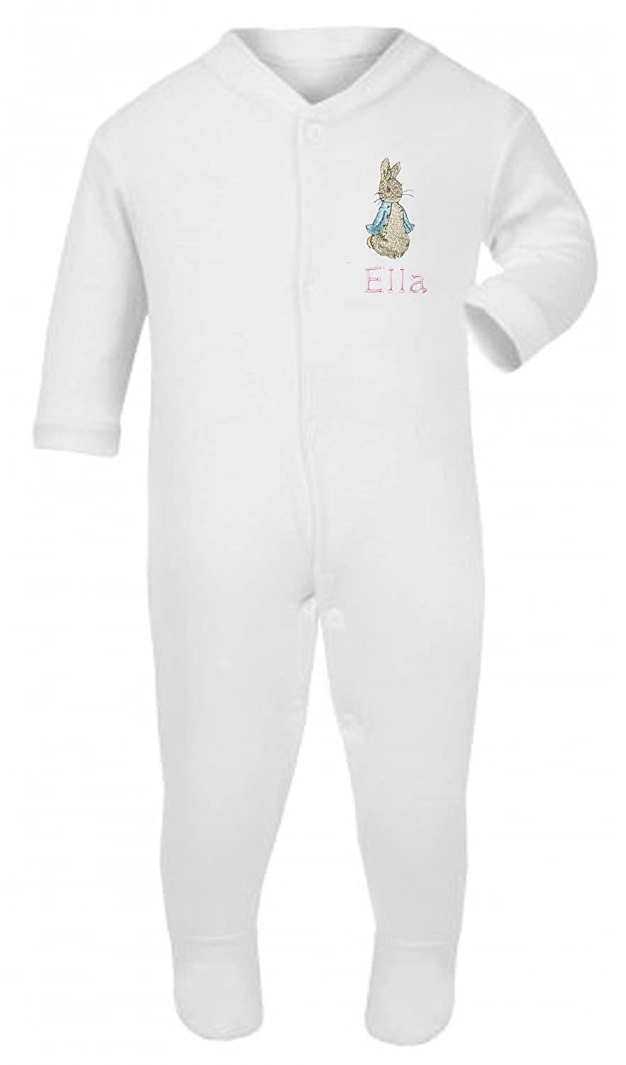 Girls Personalised Peter The Rabbit Tiny Baby/New Born Baby Grow/Sleepsuit - Now Available in to Sizes.