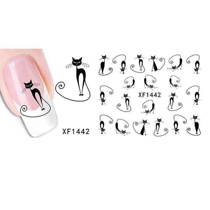 CUTICATE 2 Gatos De Gato Negro Gato Gatito De Transferencia De Agua U/ñas Pegatinas