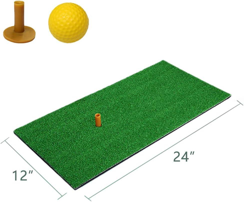 """Mulslect Golf Mat 12""""x24""""Practice Hitting Mat Portable Golf Mat Rubber Tee Holder for Outdoor & Indoor Golf Hitting Grass Mat"""