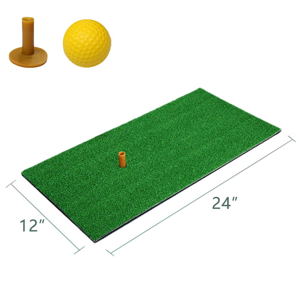 Mulslect Golf Hitting Grass Mat Portable Golf Mat Rubber Tee Holder Golf Indoor Swing Cushion Mini Golf Cushion for Outdoor & Indoor (Free 1 Ball and 1 Tee) by Mulslect