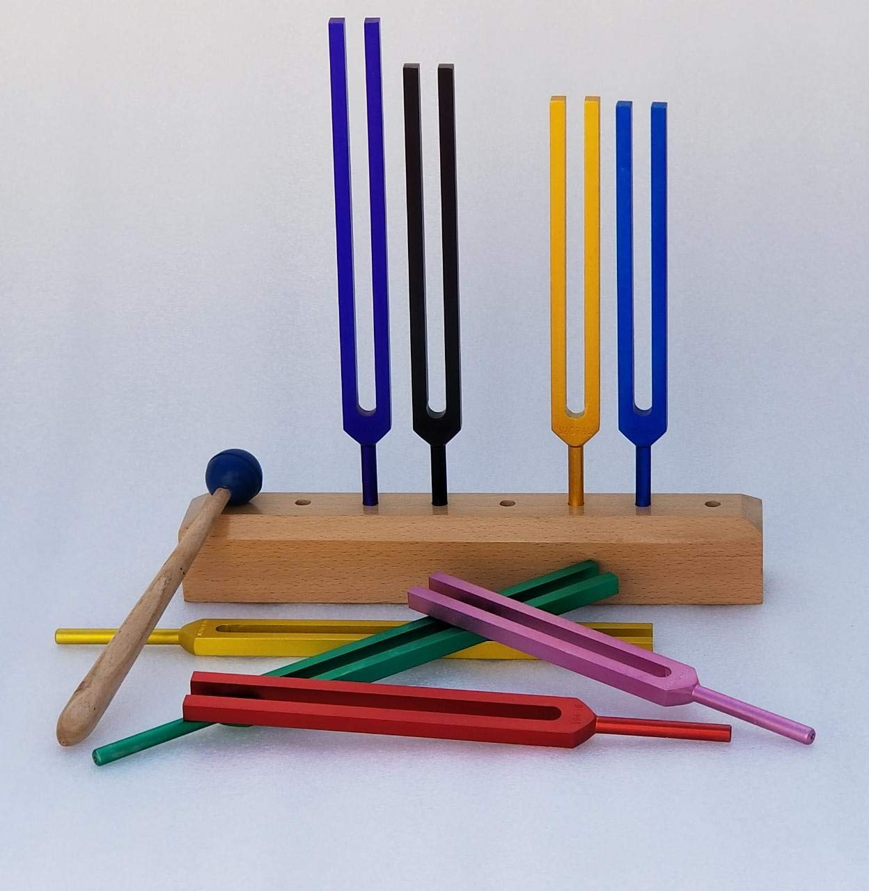 Yantra 8 Chakra and Soul Purpose Color Cosmic Healing Chants Tuning Fork with Hand Crafted Wooden Stand and Velvet Pouch