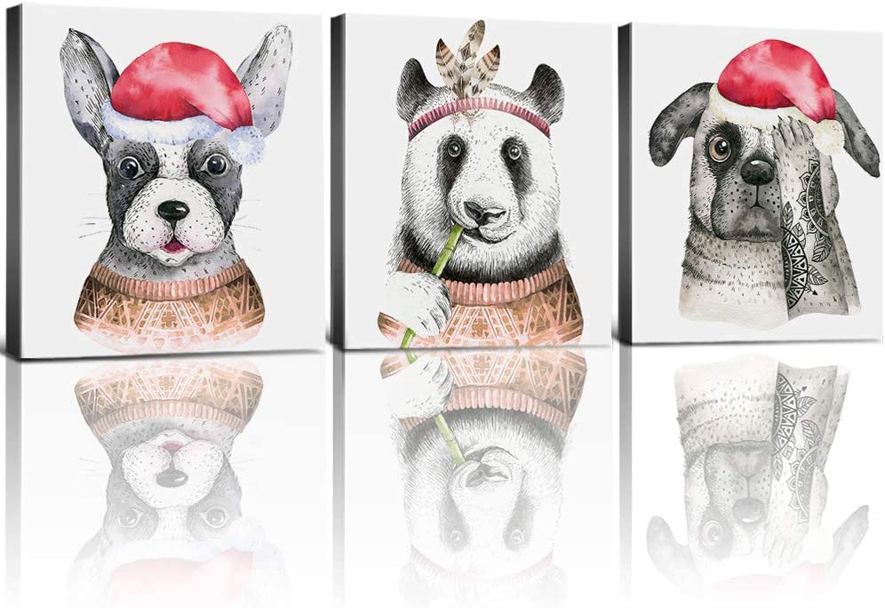 Amazon Com Christmas Dogs Wall Decor Kids Room Gifts Animals Canvas Art Funny Acting Cute Panda Puppy Red Hat Indian Headdress Giclee Framed Artwork Painting Picture Bathroom Home Decoration 16 X 24