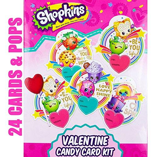 Valentines Day Classroom Exchange Gift Shopkins 24 Valentine Cards 24  Lollipops Flavored Candies Teachers Card Kids