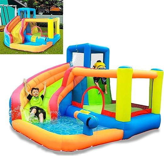 MYGIRLE Jardín Infantil Cama Elástica Gigante Inflables Toboganes Castillos con Diapositivas Muro De Escalada Y Piscina Infantil: Amazon.es: Deportes y aire libre