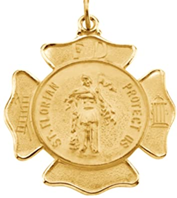 7c55c33791b Amazon.com: 14k Yellow Gold St. Florian Protect Us Firefighters Medal:  Firemen's Shield of Protection, St. Michael Medal for Firemen and EMTs The  Men's ...