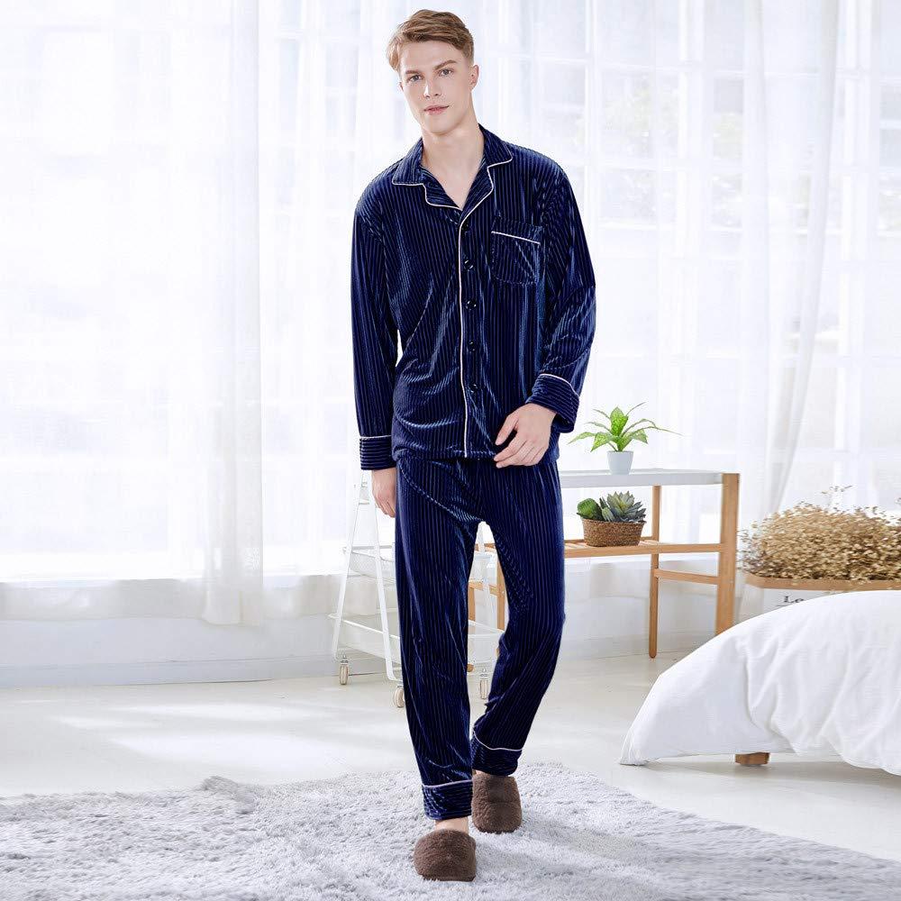 PASATO Men Sleepwear Long Sleeve Velvet Nightwear Pocket Satin Top Pajama Sets