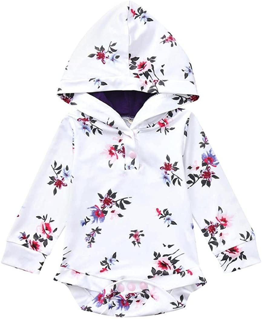Baby Floral Boys Girls Hoodie Outfits Clothes Romper Jumpsuit squarex Baby Romper