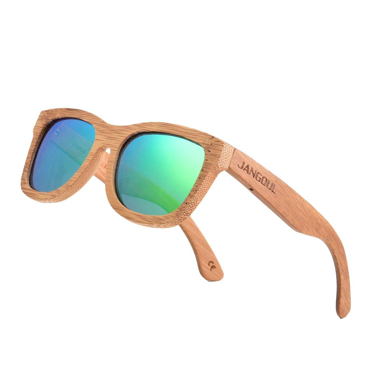 JANGOUL Polarized Sunglasses Carbonized Bamboo Frame For Men Women with Gift Box (Carbonized Bamboo Frame, Green)