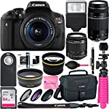 Canon T6i EOS Rebel DSLR Camera w/ EF-S 18-55mm & 75-300mm III Lens Kit + 64GB SDXC Memory + SLR Photo Bag + Wide Angle Lens + 2x Telephoto Lens + Flash + Remote + Tripod & Camera Works Bundle