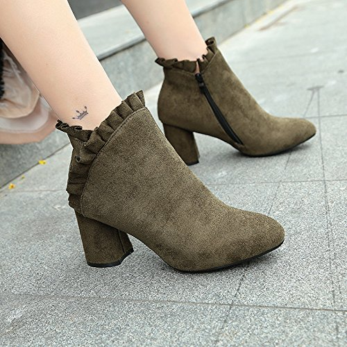 KHSKX-Plush Warm Female Boots Autumn Winter Suede Boots With Velvet Warm Female Boots Thick Heel High Heel Flowers Lady Thirty-eight