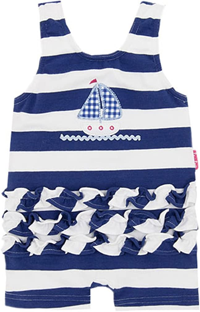 le top Navy Nautical Stripe Old Fashioned Swim Suit w//Ruffles Baby Girls