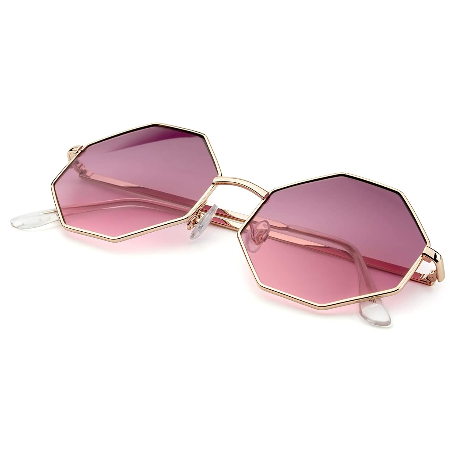 4386db1c97a Amazon.com  PINGLAS Hipster Polygon Sunglasses For Women Delicate Metal  Frame Candy Color UV400 Lens