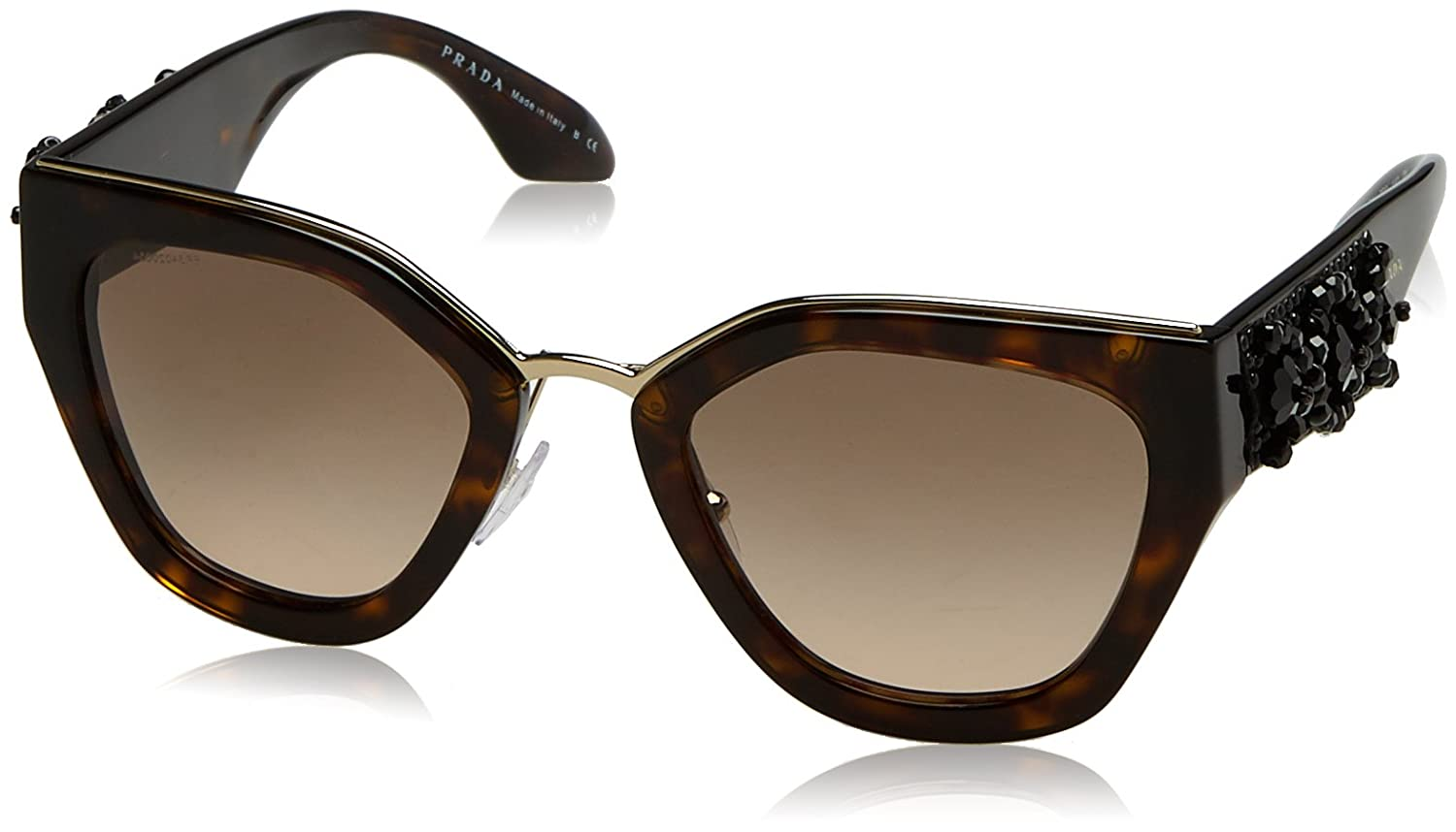 07dfe1c92ec Prada Women s PR 10TS Sunglasses Havana   Brown Gradient 52mm at Amazon  Men s Clothing store