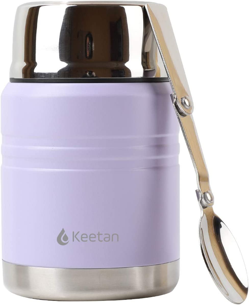 Keetan Vacuum Insulated Food Jar 18/8 Stainless Steel Lunch Box with Folding Spoon Double Walled Food Container BPA Free(17OZ,Purple)