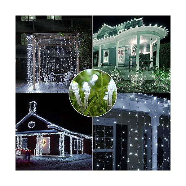 BrizLabs Luci Natalizie Esterno 15M 100 LED Bianco Freddo Luci Stringa 8 Modalità Impermeabile Catena Luminosa Decorazioni Natalizie per Interno, Giardino, Albero di Natale, Matrimonio 3 spesavip