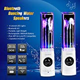 SoundSOUL Bluetooth Dancing Water Speakers Music Water Fountain Speakers (4 Colored LED Lights, Bluetooth 4.0, Built-in Rechargeable 1800mAh Battery, Powerful Dual 3W Speakers ) - White