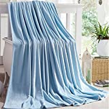 """classic sky blue cotton soft 100% polyester blanket large size 70""""(W)x80""""(L)"""