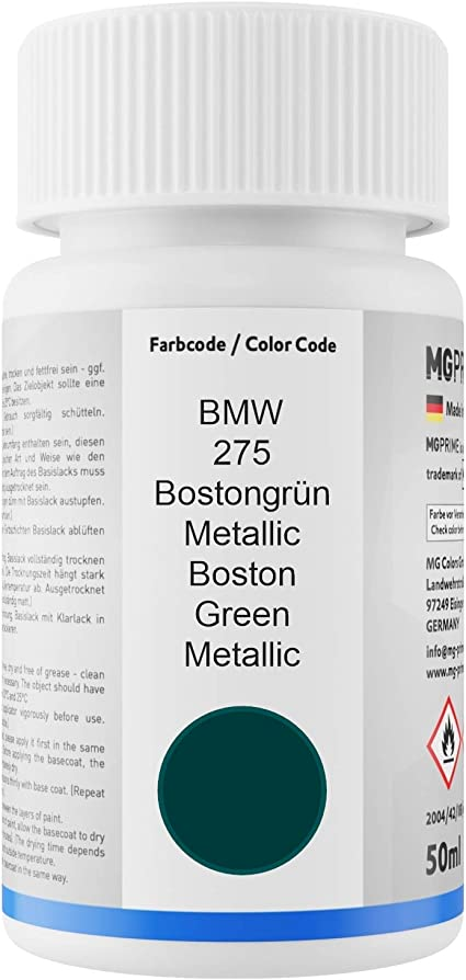 Mg Prime Autolack Lackstift Set Für Bmw 275 Bostongrün Metallic Boston Green Metallic Basislack Klarlack Je 50ml Auto