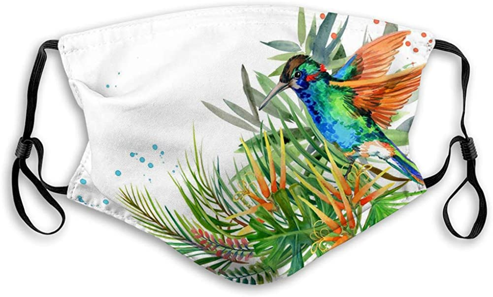 Washeable Reusable Mouth Scarf Decoration Cotton Jungle Plant Bird Flowers Hummingbird rain Fore Reusable Cover