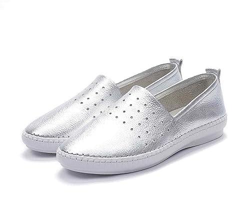 Zapatos de Cuero de Piel de Vaca de la Manera Mocasines Planos de Las Mujeres Zapatillas de Deporte de Cuero Suave: Amazon.es: Zapatos y complementos