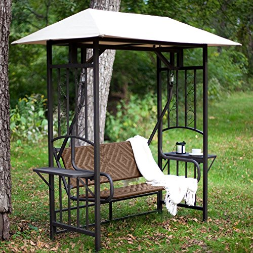 Coral Coast Bellora 2 Person Gazebo Swing - Natural Resin Wicker