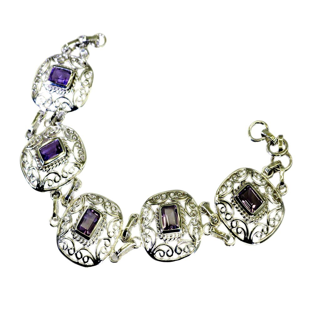 Natural Amethyst Sterling Silver Bracelet For Women Bangle Style February Birthstone Length 6.5 to 8 Inch by 55Carat