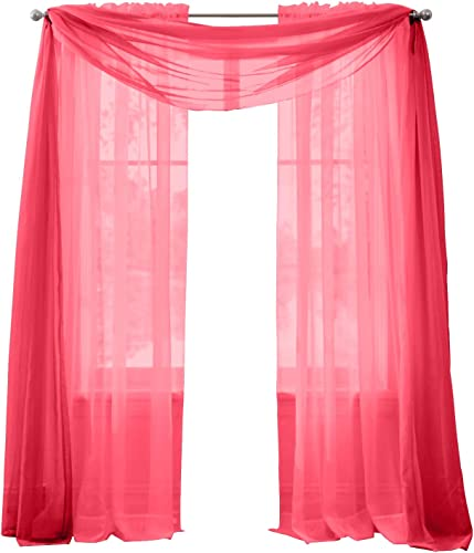 BrylaneHome Sheer Voile Scarf Valance – 40I W 144Il, Ruby