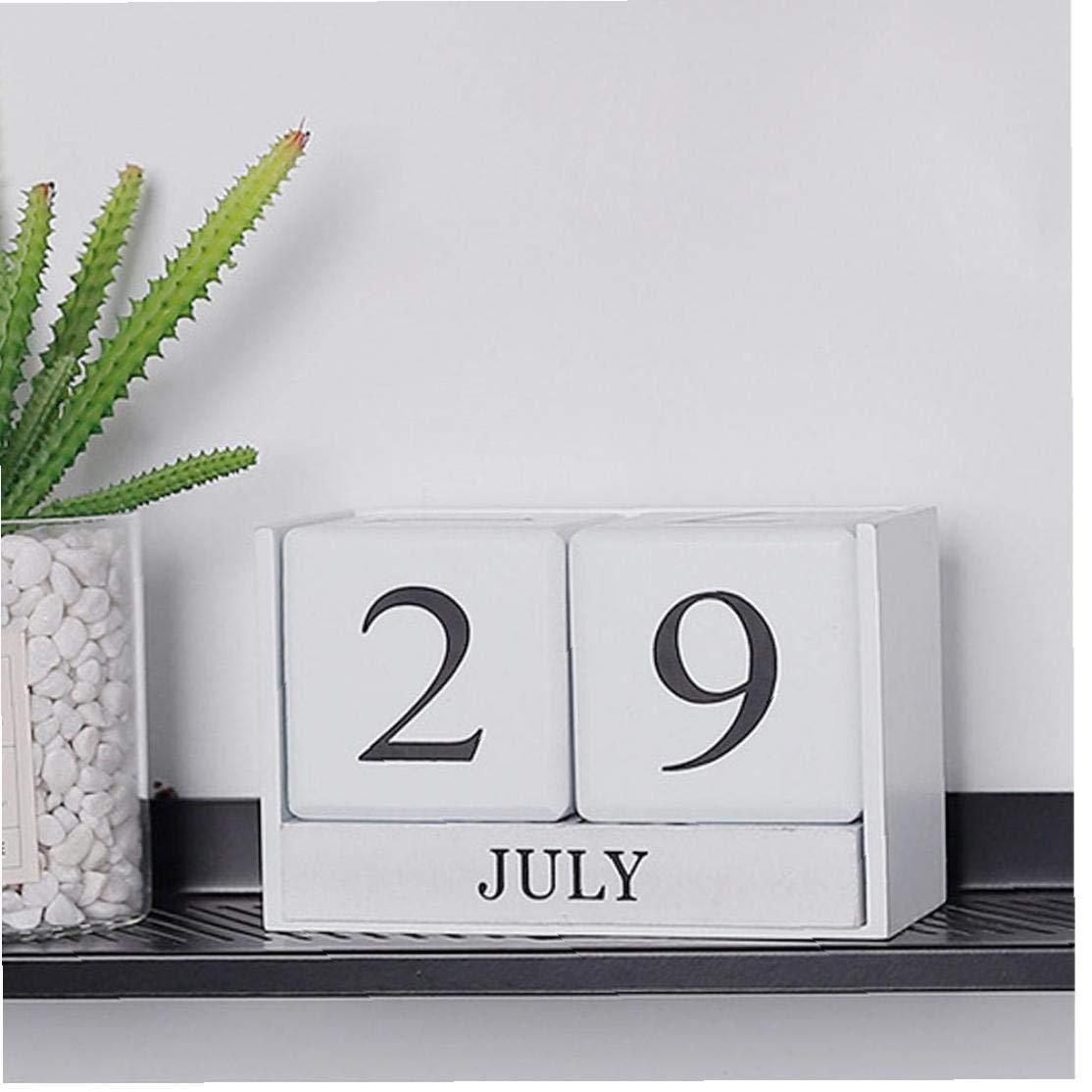 Vintage Legno Advent Table Desk Calendar Blocco Di Legno Planer Permanente Agenda Organizer Desktop