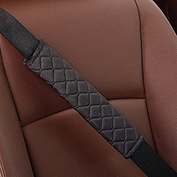 Fleming Universal Car Seatbelt Pad Cover Brown Compatible with All Cars 2 Pcs Seat Belt Shoulder Pad Made of Soft Suede Protect Your Neck and Shoulder