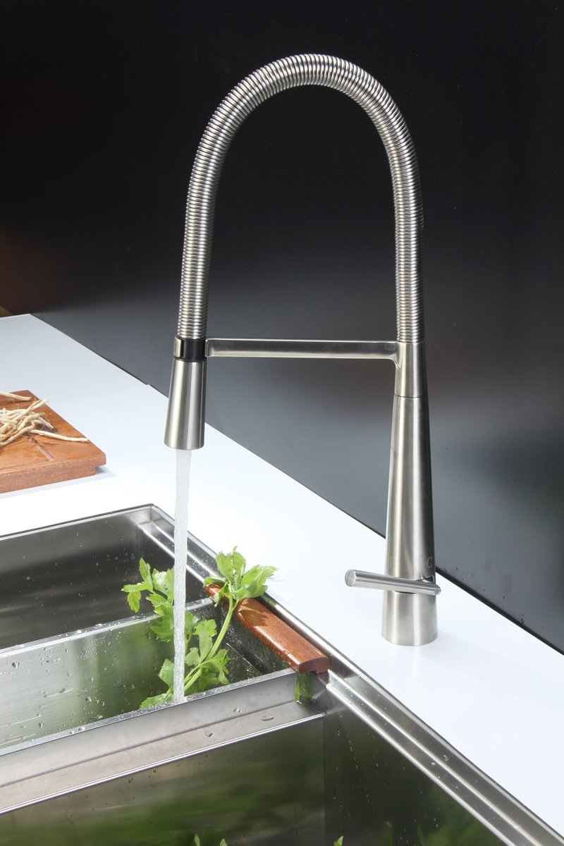 Ruvati RVF1225BN Single Handle Pull Down Kitchen Faucet, Stainless Steel    Touch On Kitchen Sink Faucets   Amazon.com