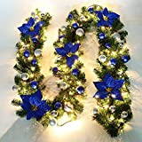 Cherry Juilt 9 Feet Christmas Garland with Lights Decorations Artificial Wreath with Berries and Pinecones Indoors Outdoor Xmas Decorations for Wall Door Stair (Set of 1, Blue)