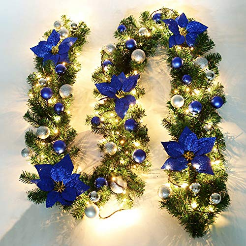 Cherry Juilt 9 Feet Christmas Garland with Lights Decorations Artificial Wreath with Berries and Pinecones Indoors Outdoor Xmas Decorations for Wall Door Stair (Set of 1, Blue) - Pole Christmas Frame