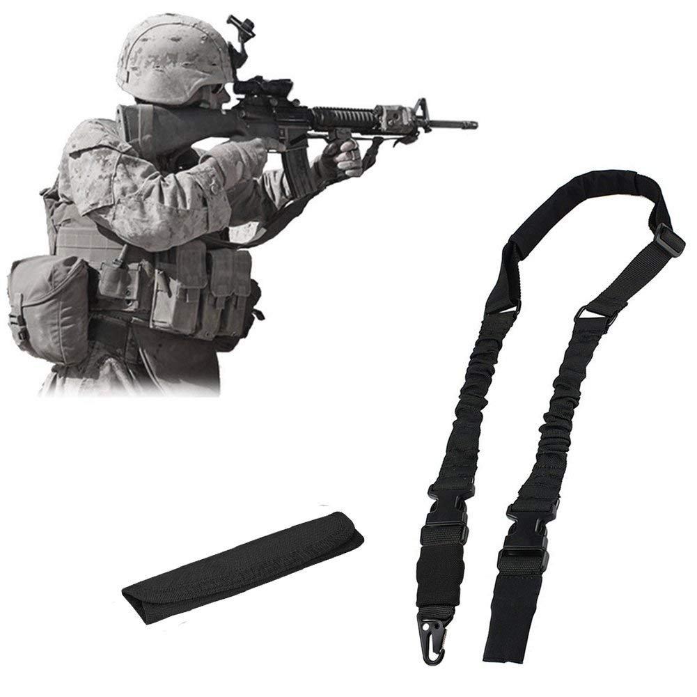 nianpu Multi Función 2Punto 1punto Rifle Gun Sling para caza deportes al aire libre, negro