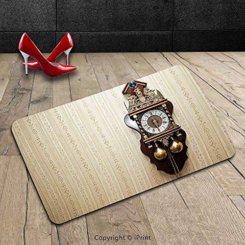 Custom Machine-washable Door Mat Clock Decor by An Antique Wood Carving Clock with Roman Numerals Hanging on the Wall Design Brown and Tan Indoor/Outdoor Doormat Mat Rug (Batman Pumpkin Carving)