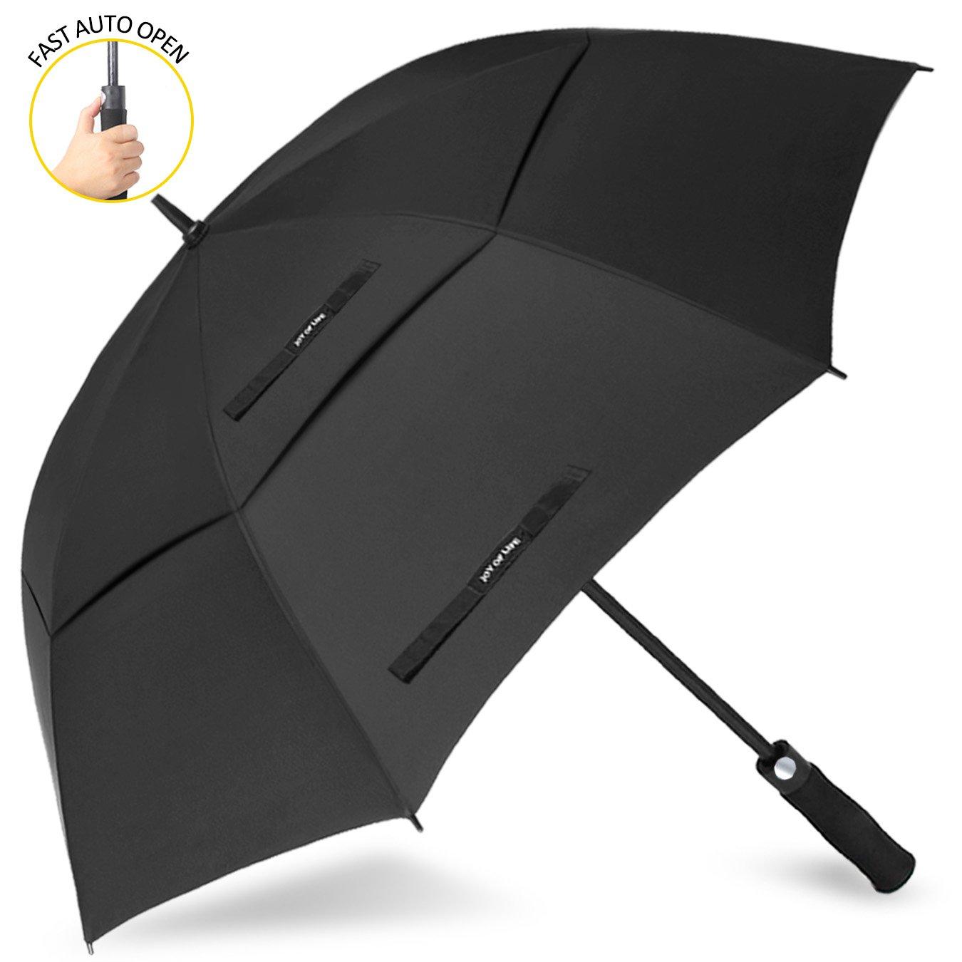 ゴルフ傘 長傘 ワンタッチ 自動開け大きな傘 100cm 梅雨対策 台風対応 ビジネス用 メンズ B075D8QNLG黒 傘の長さ110cm(68inches)