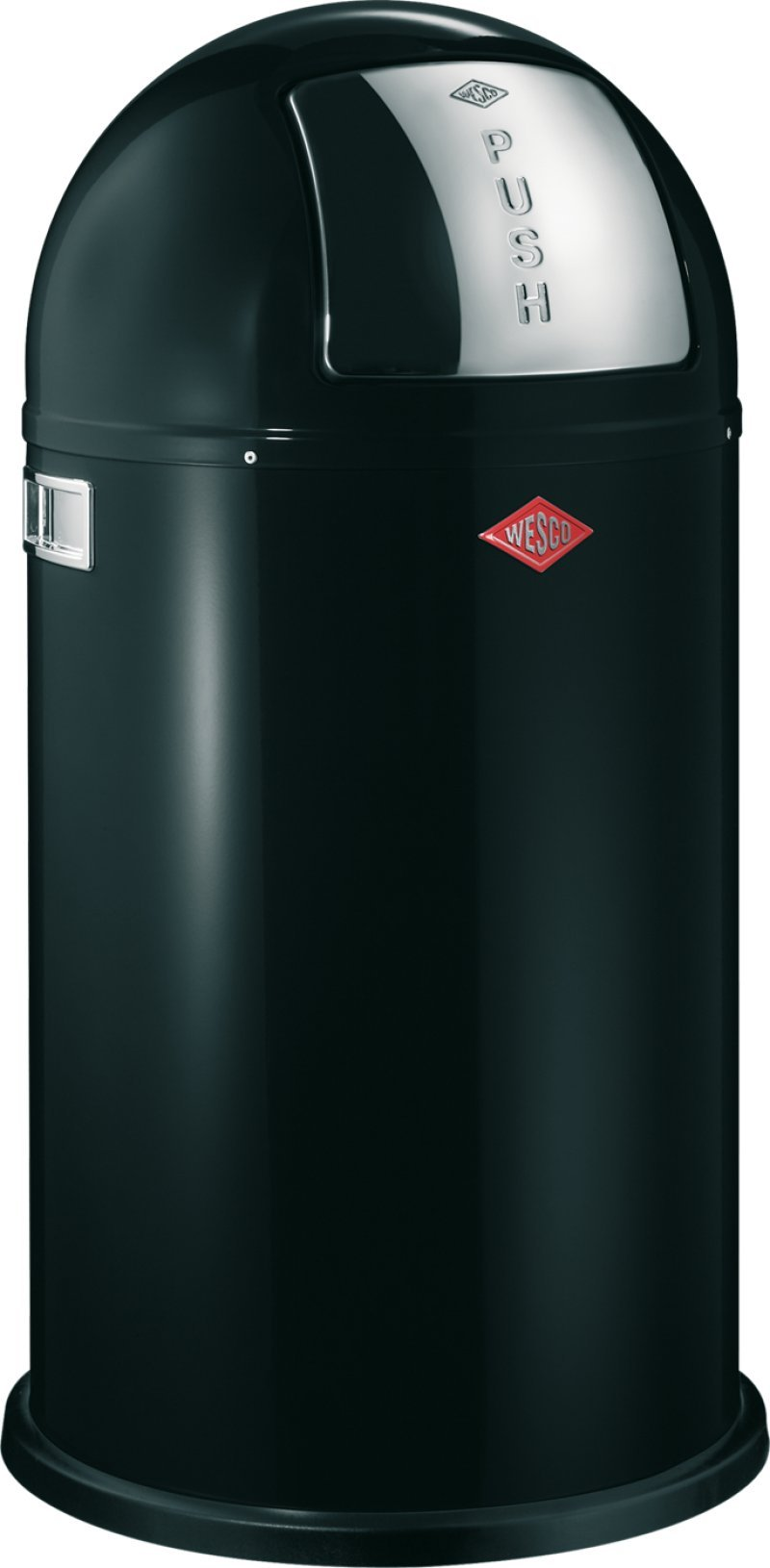 Wesco Pushboy - German Made - Push Door Trash Can, Powder Coated Steel, 13.2 Gallon / 50L , Black