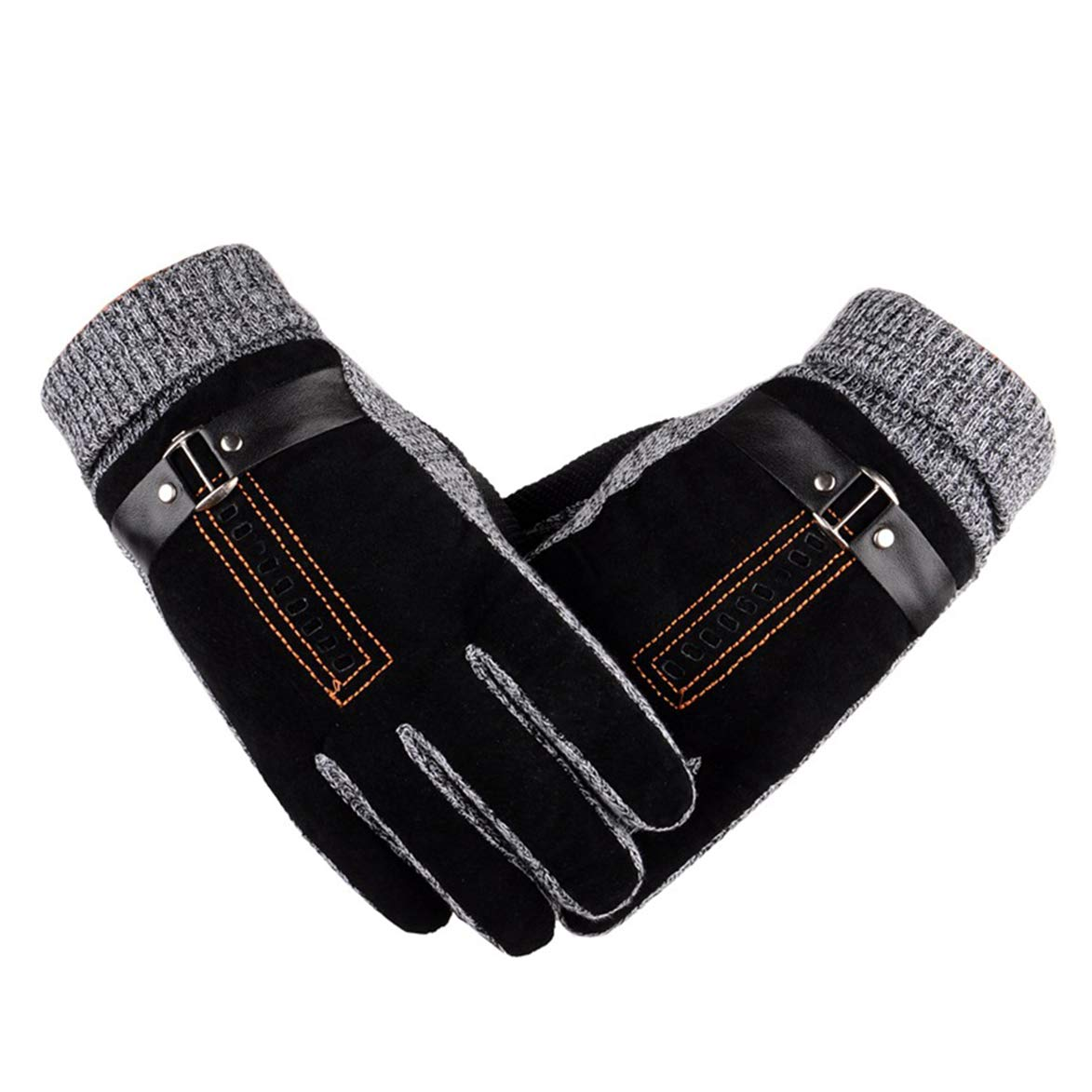 Eohak Windproof Pigskin Leather-Driving-Suede Gloves Mens Women Thermal Plush Lined Winter Gloves with Elasticated