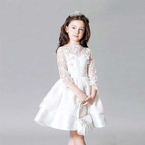 Color Puro de la Moda para niños Vestidos de Encaje Elegante ...