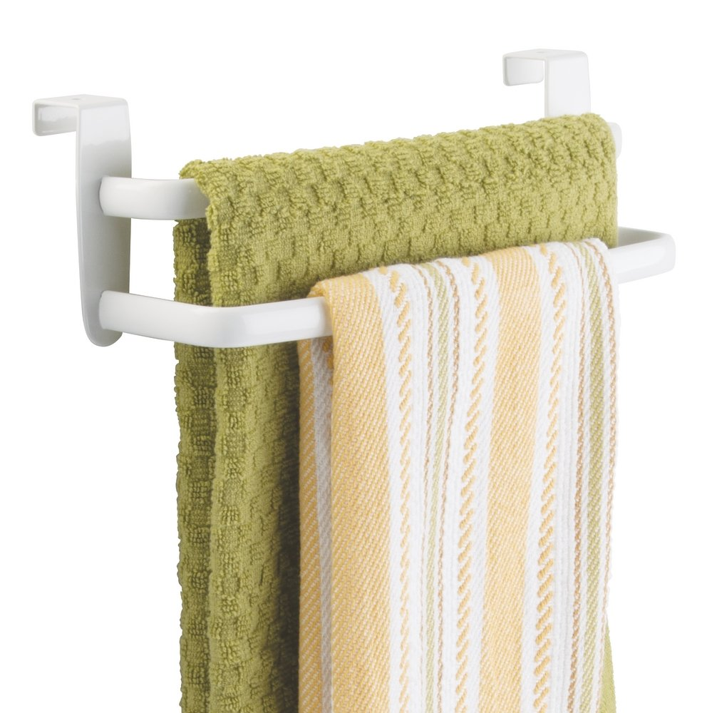 kitchen towel holder. MDesign Double Tea Towel Holder For Hanging Over The Kitchen Cupboard Door - Rail No Drilling Necessary Also Suitable As A Bath