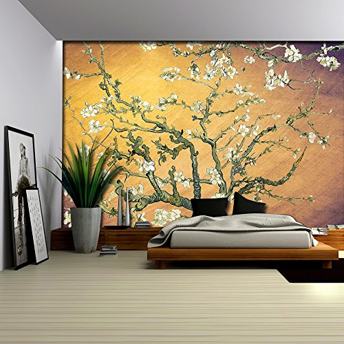 Smeared Yellow and Purple Almond Blossom by Vincent Van Gogh Wall Mural