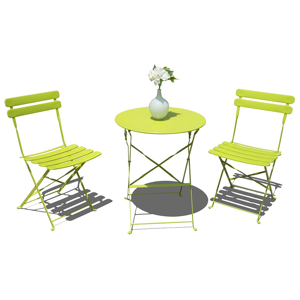 Orange Casual Outdoor 3 Pieces Patio Bistro Set Folding Steel Furniture Balcony Table and Chairs Sets, Light Green