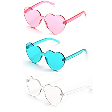 214708ae30c Oaonnea Fashion Large Heart Shaped Glasses Transparent Lens Sunglasses for Women  Girl(3mix)  Amazon.co.uk  Clothing