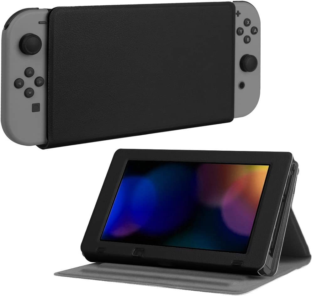 Fintie Protective Case for Nintendo Switch - [Multi-Angle Viewing] Ultra Slim Vegan Leather Play Stand Cover with Elastic Strap for Nintendo Switch 2017 - Black