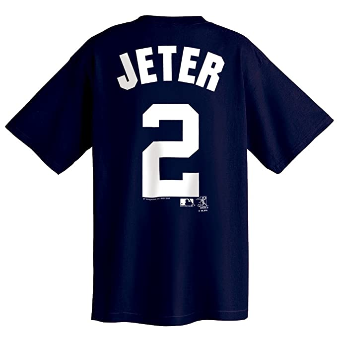 online retailer 92913 304ca Majestic Derek Jeter Player Name and Number Navy New York Yankees Youth  T-Shirt