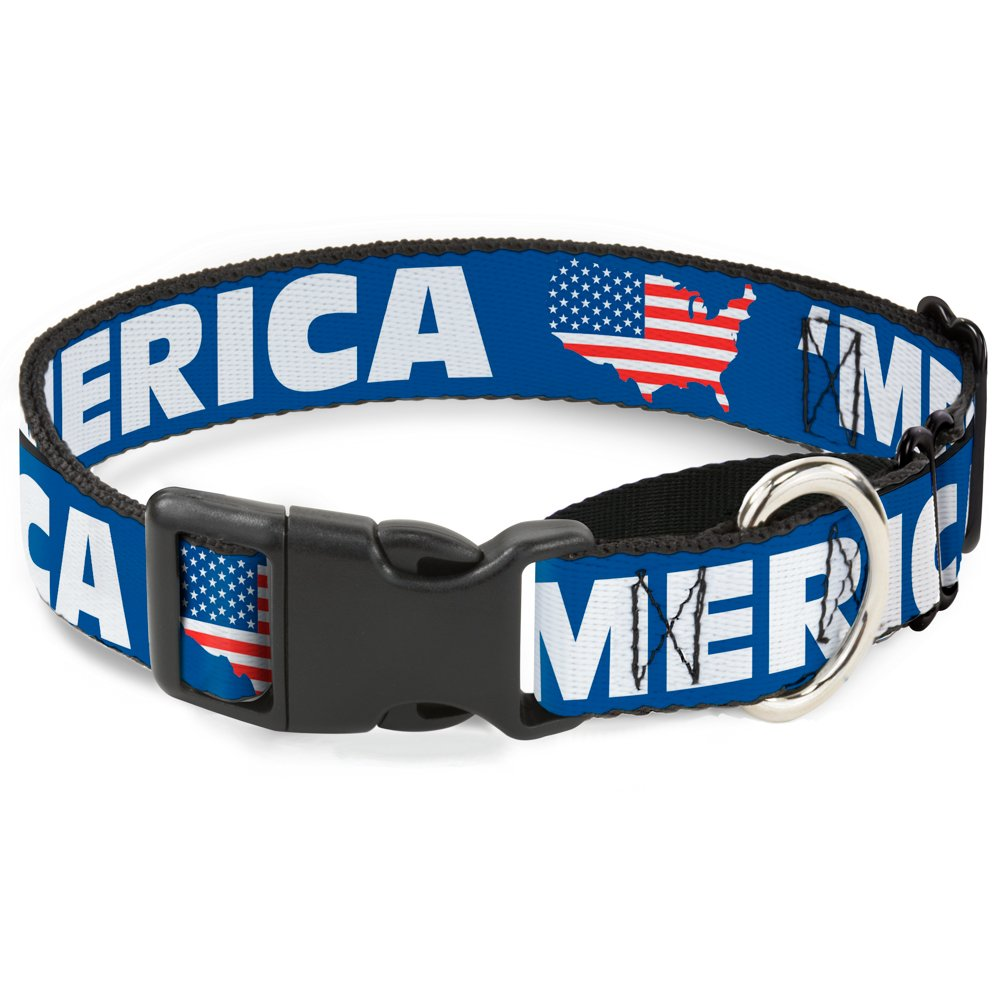 Buckle-Down Merica USA Silhouette bluee White Us Flag Martingale Dog Collar, 1  Wide-Fits 11-17  Neck-Medium