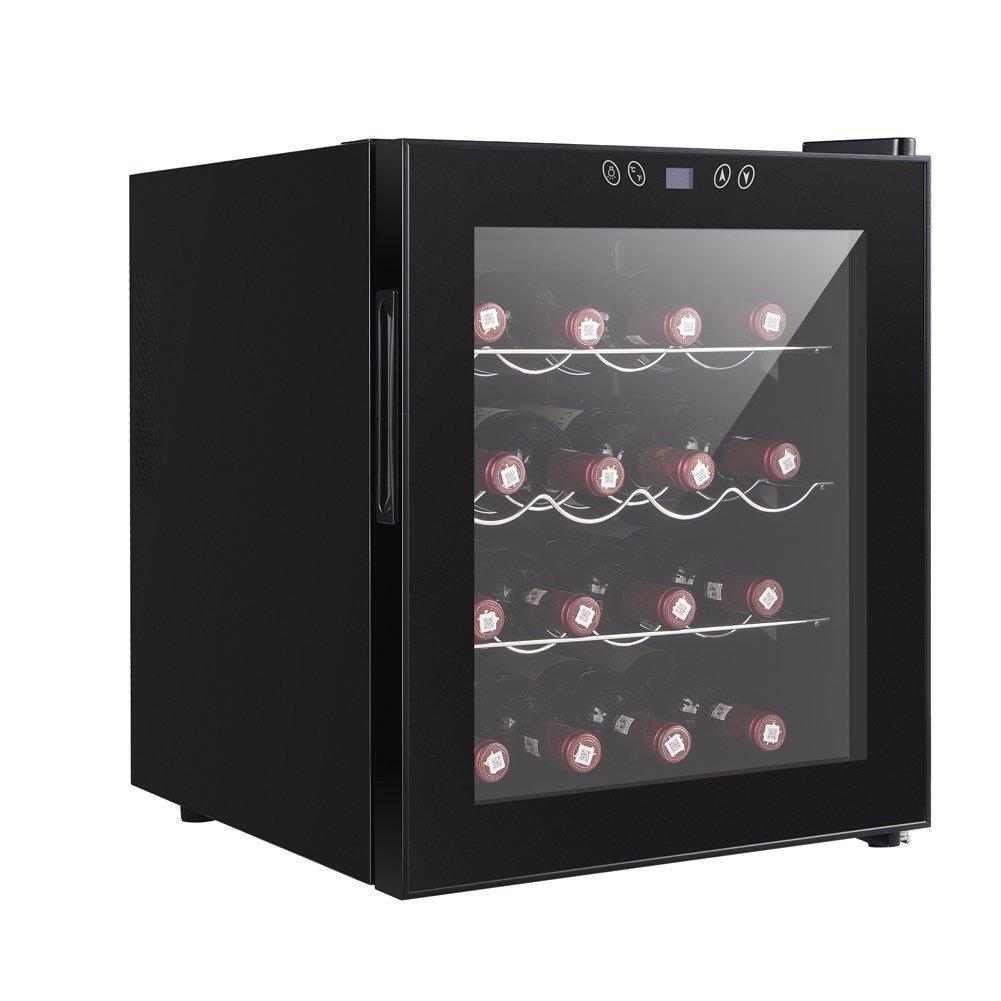 Smad Freestanding Single Zone Red Wine Chiller, Black,16 Bottles - Hinge on Right