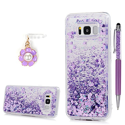 Price comparison product image Galaxy S8 Plus Case, YOKIRIN Clear Flexible Silicone Phone Cover Pink Glitter Shiny Liquid Sand Shockproof Protective Case for Samsung Galaxy S8 Plus with One Touch Pen & One Dust Plug, Purple